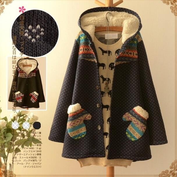 2016 Winter Women s new sweet Japanese knit patchwork thick cashmere hooded coat free shipping
