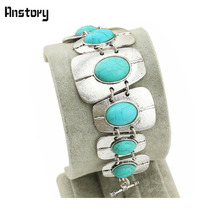 Vintage Look Retro Craft Tibet Alloy Silver Plated Sturdy Oblong Bead Oval Turquoise Bracelet Bangle B006(China (Mainland))