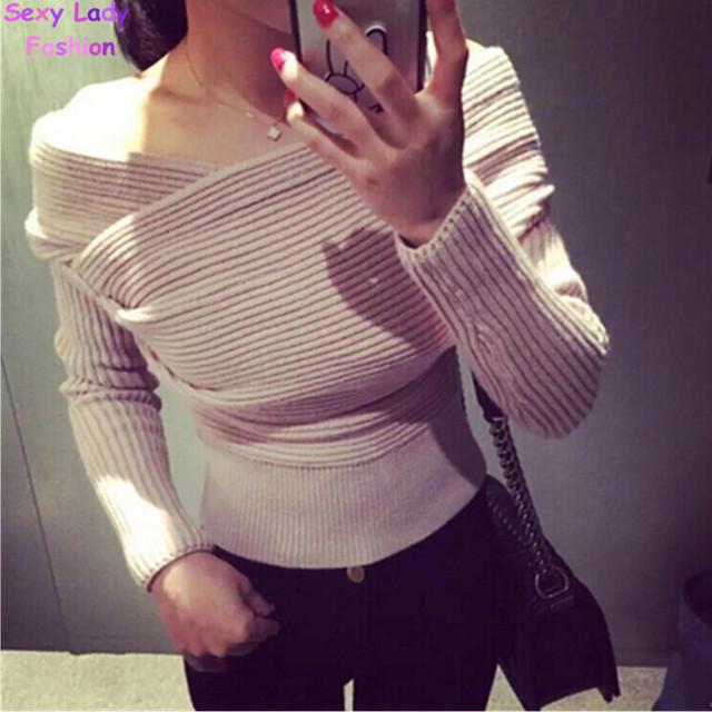 Сексуальная крест V шеи выкл-плечу пуловеры свитер женщин урожая топ новизна нерегулярные ...