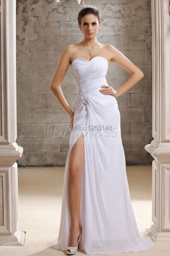 Hot52-1 Flowing White Sweetheart Chapel Train Crystal Floral Pin Taline's Wedding Dressfashion(China (Mainland))