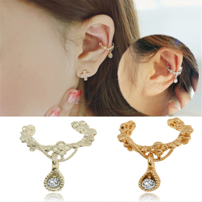 New Punk Fashion Ear Cuff Wrap Rhinestone Cartilage Clip On Earrings Non Piercing Clip Earrings for Women(China (Mainland))
