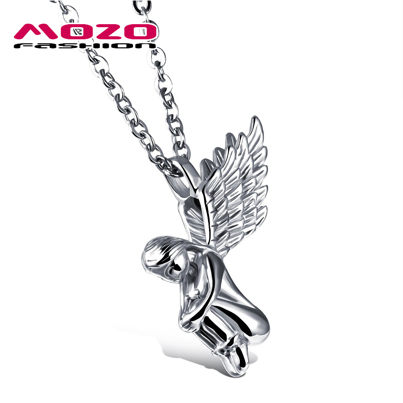 2016 New fashion jewelry hot Sale tide male stainless steel Angel Wings pendant necklace creative gift boutique for men MGX1016(China (Mainland))
