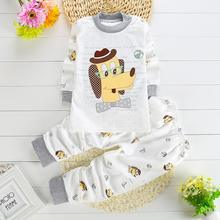 Children Kids Cartoon Animal Print Long Sleeve Cotton Shirt + Pants 2 Piece Set Suits Boys Girls Sleep Set Pijamas infantil T238(China (Mainland))