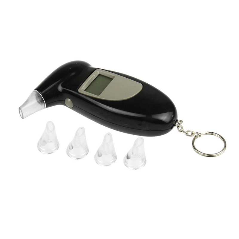 Digital LCD Display Alcohol Tester Mouthpiece Audible Alert Breathalyzer Parking Gadget Analyzer With Key Chanin(China (Mainland))
