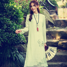 2016 spring national trend plus size clothing long DRESS chinese style slim long-sleeve Cotton and linen one-piece dress W29