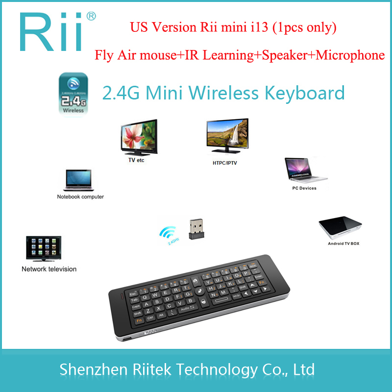 2.4G Rii Mini i13 MIC Speaker Wireless Keyboard with Air Fly Mouse for PC HTPC Smart Android TV Box SKYPE Gaming Keyboards(China (Mainland))