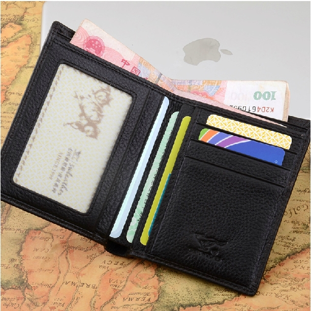 2015 New Promotion Men Genuine Leather Short Wallets Famous Brand Credit Card Holder ID Card Money Purse Travel Case(China (Mainland))