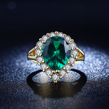 925 sterling silver Jewelry wedding rings For Women fashion Bijoux Ruby Emerald Green gem CZ Diamond ring Classic FSR2015