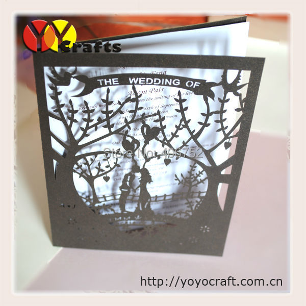 Romantic couple lovers pearl paper supplies laser cut Chinese creative marriage invitation cards samples(China (Mainland))