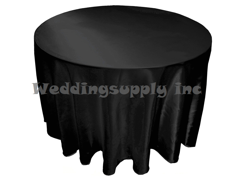 A dozen(12) Cheap Premium 108''(275cm) Round Black Satin Tablecloths for Sales Banquet Table cloth for wedding free shipping(China (Mainland))