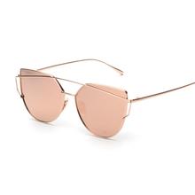 Rosa Espelho do vintage feminino Olho de Gato Mulheres Óculos De Sol Da Marca Designer Twin-Vigas óculos de Sol para senhoras mulheres Oculos Feminino