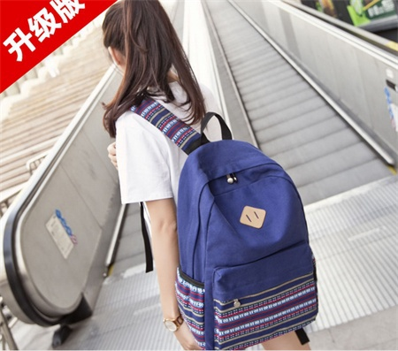 2015 New Bohemian national style geometric pattern stitching canvas shoulder bag backpack Korean schoolbag 29*15*44cm(China (Mainland))