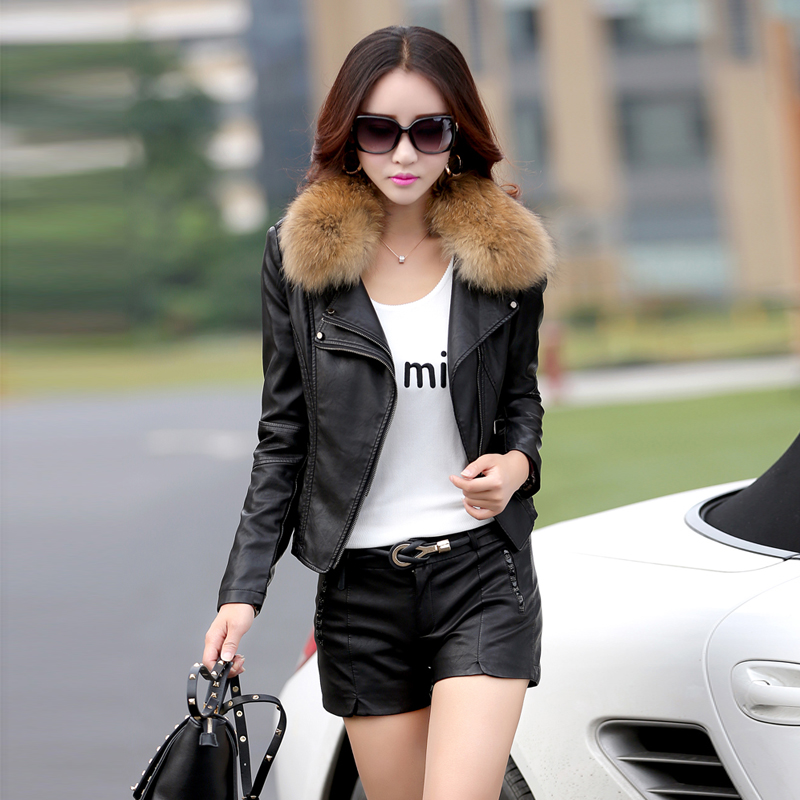 leather jacket women short motorcycle leather jacket spring and autumn ladies raccoon fur collar leather coat size m-5xl 926(China (Mainland))