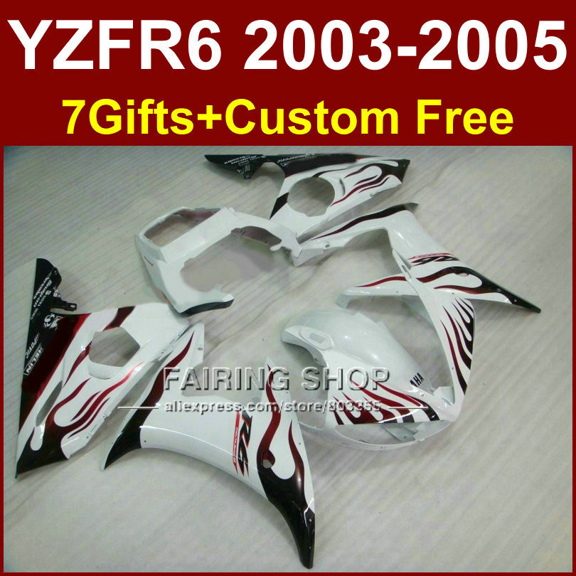 FE44 body repair parts for YAMAHA R6 fairing kit 03 04 05 red flame in white fairings YZF R6 2003 2004 2005 Motorcycle sets K56G(China (Mainland))