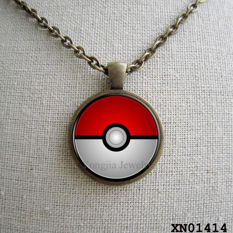 Pokemon Ball Necklace ,Game Necklace ,Brass Pokemon Ball Jewelry , Girls Necklace , Gamer Gift(China (Mainland))