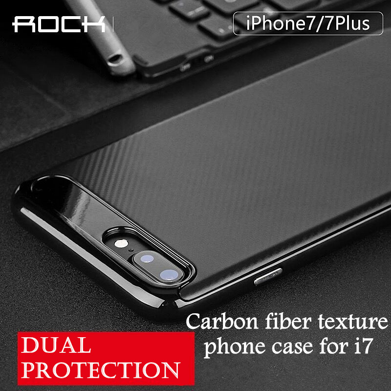 Rock Luxury High Quality carbon fiber Soft phone Case For iPhone 7 7plus Leather Skin 3D Texture Tire Defender back Cover(China (Mainland))