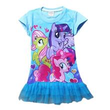 2016 New Fashion Baby Girls Summer My Little Pony Dresses Girl's Cotton Tutu Mini Party Dress 3D Printer 30F(China (Mainland))