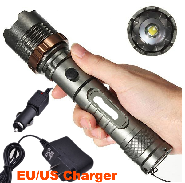 2300LM CREE XML T6 LED Rechargeable Flashlight Torch Light 5 Mode Lanterna Zoom Focus Flash Light AC+Car Charger(China (Mainland))