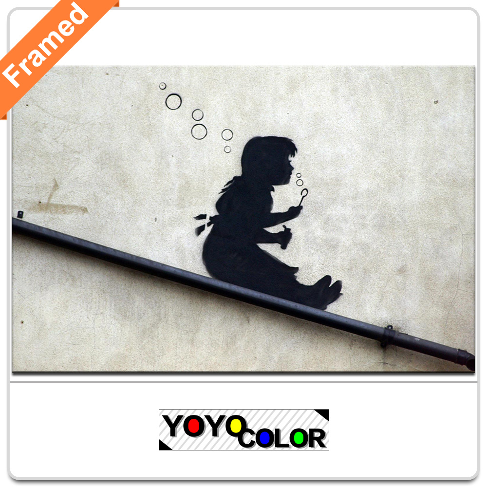 Banksy bubble girl on slide, Framed Canvas Print Painting Artwork, Wall Art Picture/Photo Gift for Living Room, WHOLESALE B740