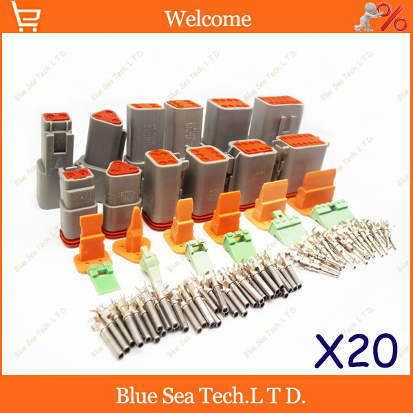 120 sets 6 models Deutsch DT06/DT04 2/3/4/6/8/12 Pin Engine/Gearbox waterproof electrical connector for car,bus,motor,truck,etc.<br><br>Aliexpress