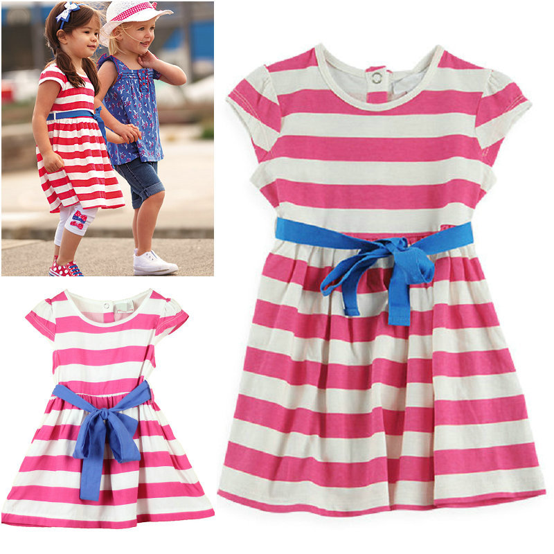 100% cotton 2014 summer little girl dress sleeveless Striped dresses children clothing cheap girl dresses(China (Mainland))