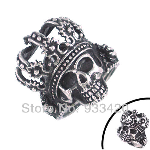 Free Shipping!Crowned S kull Head Ring Stainless Steel Jewelry Gothic Biker Punk Ring SWR0105<br><br>Aliexpress