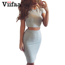 Buy Viifaa 2017 Summer Women Club Dress Two Piece Outfits Bodycon Midi Dress Sexy Party Night Club Vestidos Gray Dresses for $9.99 in AliExpress store