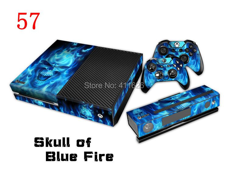 Skull of Blue Fire Skin Sticker PVC  for Xbox One Decal Cover for Xbox One Controller  10PCS/LOT<br><br>Aliexpress