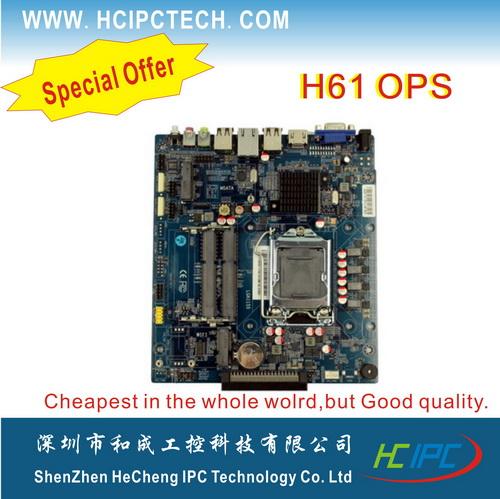 HCIPC,Special Offer M801-1 OPS-HCM61X21A,H61 OPS Motherboard,17*19CM (ITX Motherboard),6*USB2.0, 2*SATA,HDMI+VGA+VGA_header<br>