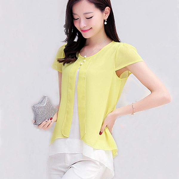 Yellow Blouses Plus Size 44