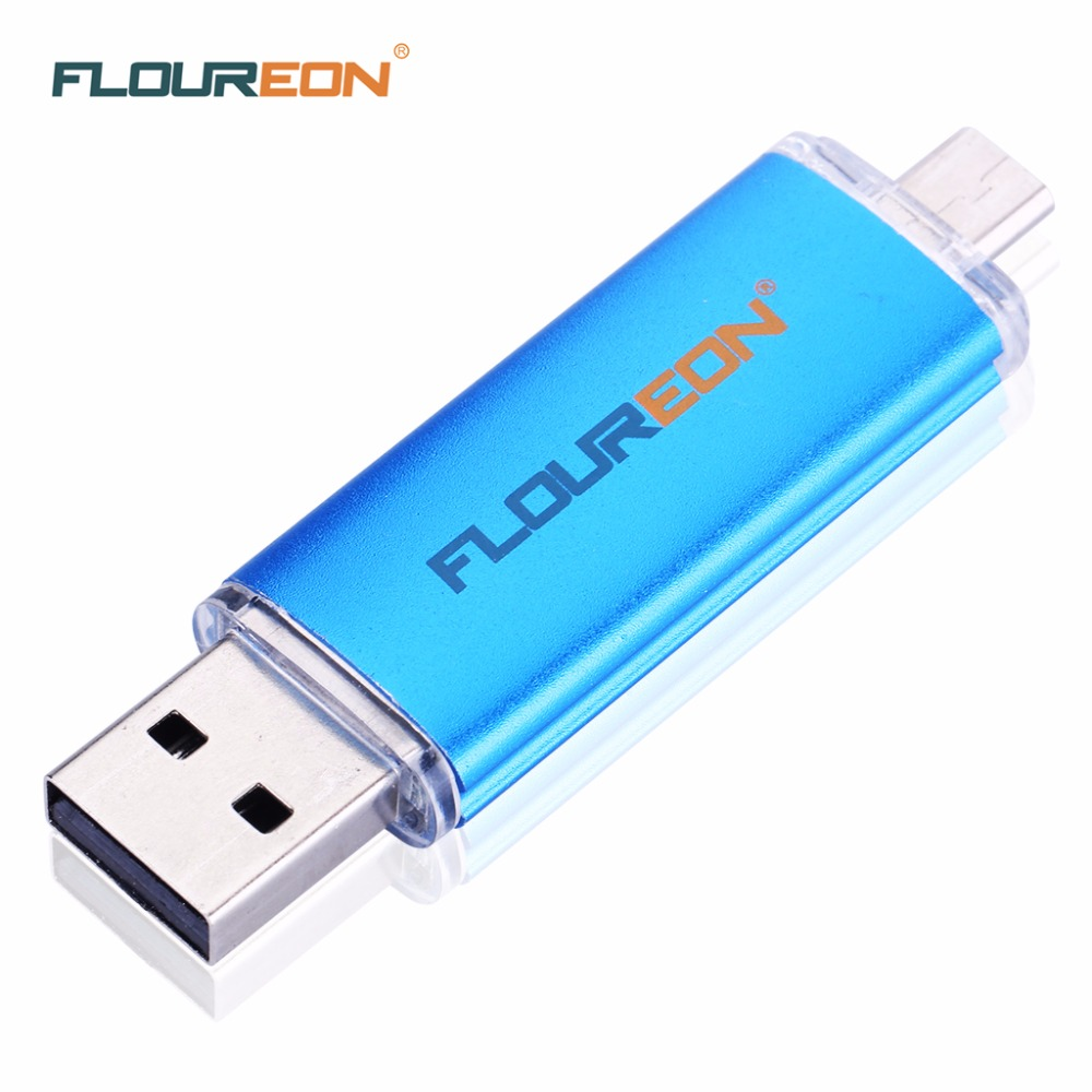Floureon Protable 16GB High Speed Flash Drive USB 2.0 Blue Color OTG 8GB 16GB 32GB 64GB Optional Pen Drive Stick Free Shipping(China (Mainland))