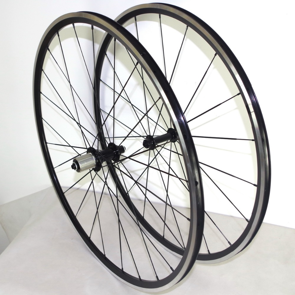 Free shipping 700C supper Light alloy bike wheels only 1600 g 28mm depth 23mm width black andonized brake track(China (Mainland))