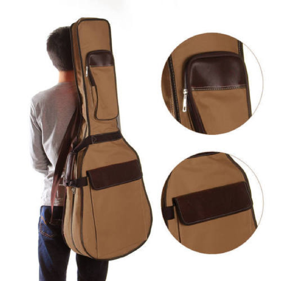 2016 Hot Comfortable Side Handle Double Straps PU Canvas 41 Inches Gig Bag Protective Case Padded For Folk Acoustic Guitar(China (Mainland))