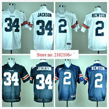 Hot New Auburn Tigers 2 Cam Newton 34 Bo Jackson College Jersey Embroidery Logo(China (Mainland))