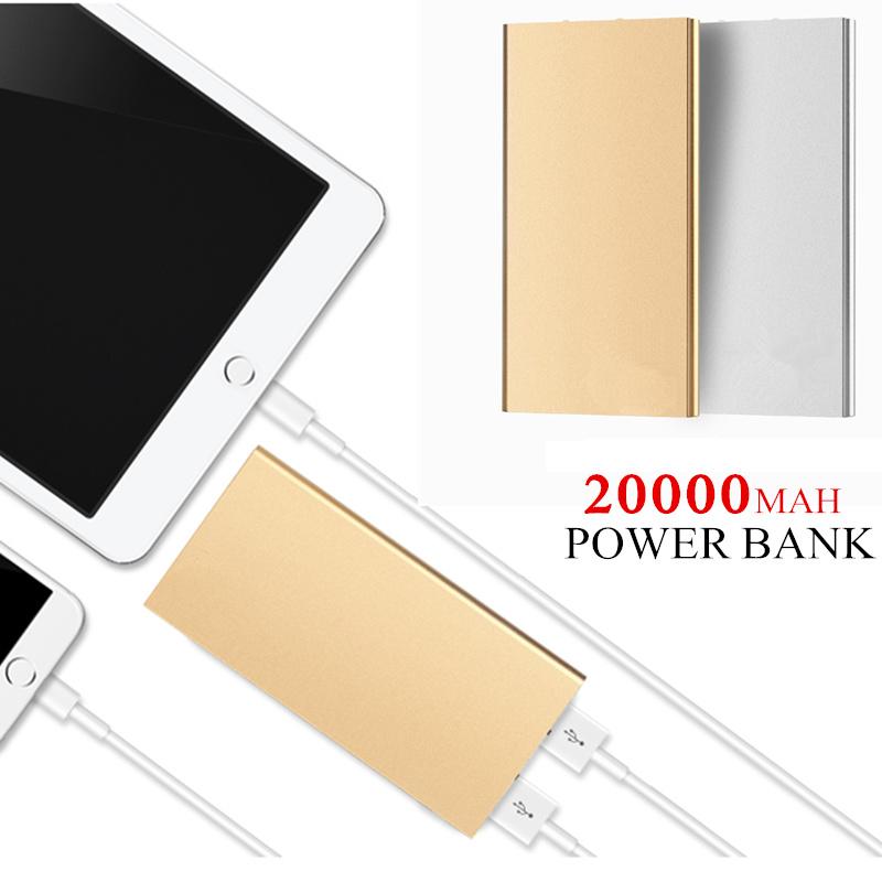 FOOBI Ultra-thin Mobile Power Bank 20000 mAh metal shell led light USB External Backup Battery Portable universal Phone charger(China (Mainland))
