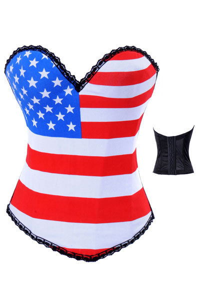 Free Shipping Goth Punk Rock Hook US Flag Boned Corset For Women Bustier TOP Halloween Costume S M L XL LB4473(China (Mainland))