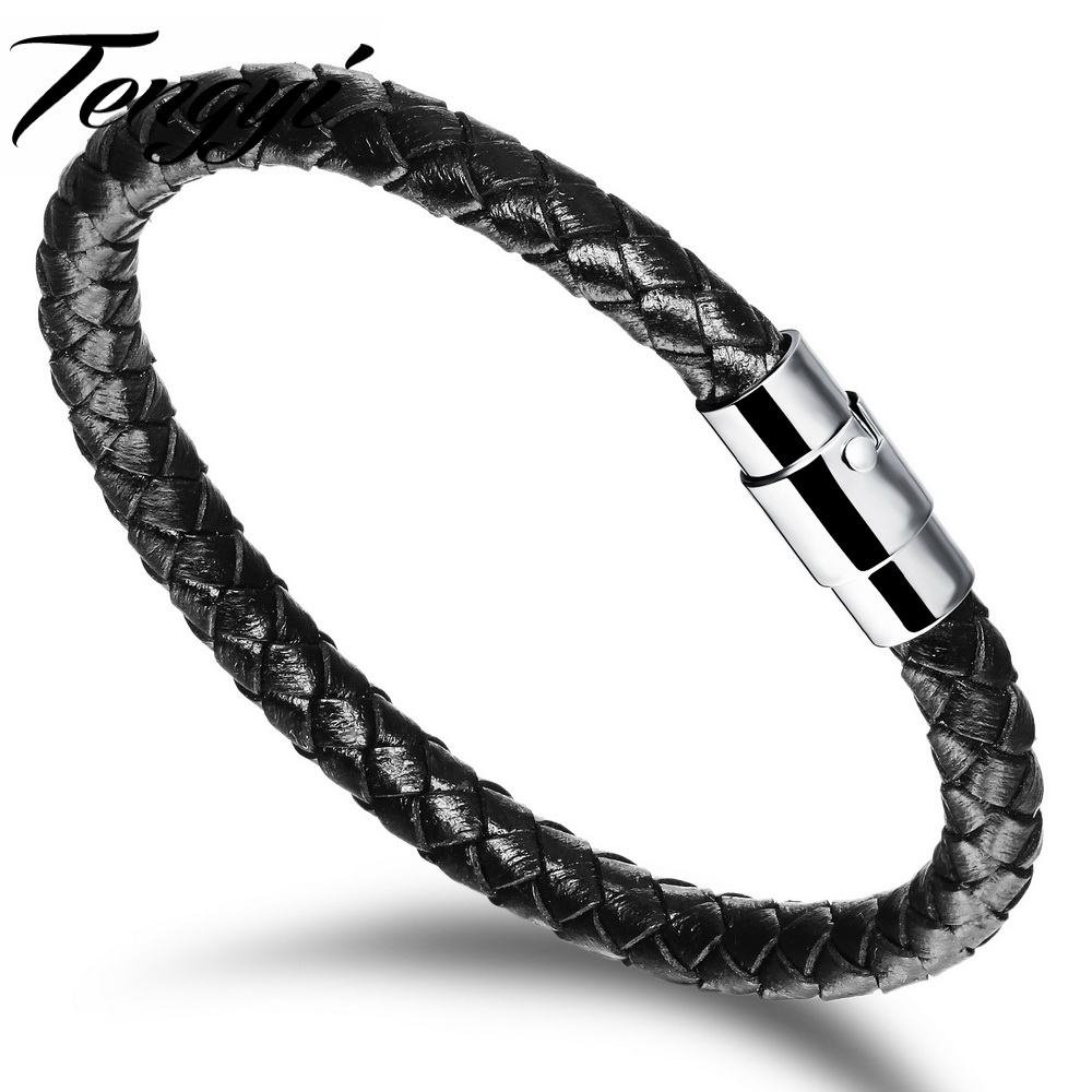 Fashion Retro Black &amp; Brown Thin  Leather Bracelets Men&amp;Women gift Bracelet 19/20/22CM Wristbands pulseira masculina TY956<br><br>Aliexpress