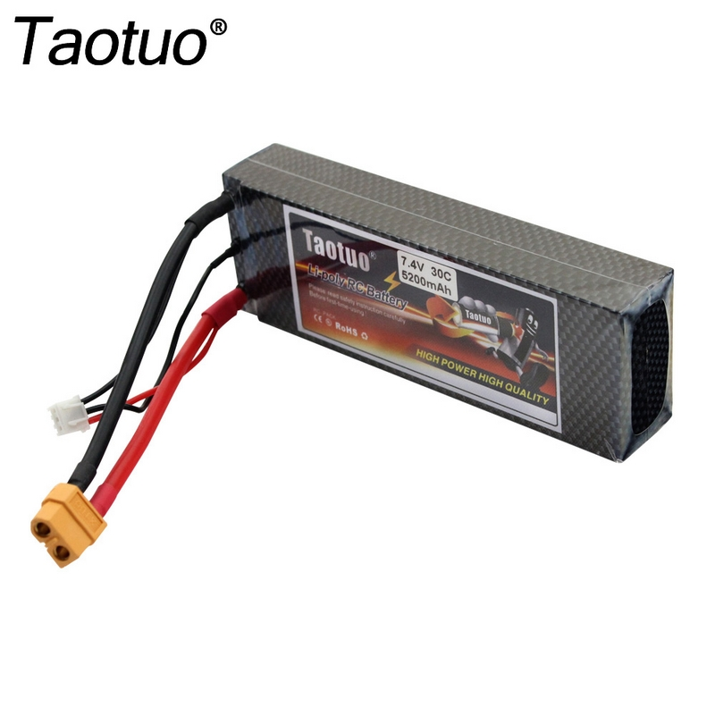 Taotuo Power Lipo Battery 7.4v 5200mah 30C XT60 / T Plug For RC Car Truck Boat Buggy Truggy Drone Bateria(China (Mainland))