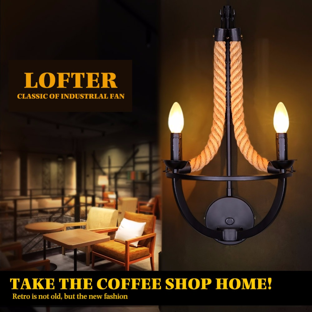 American Art Retro Living Room Wall Lamp Wrought Iron Bars Engineering Creative Personality Rope Sconce - Explore004 store