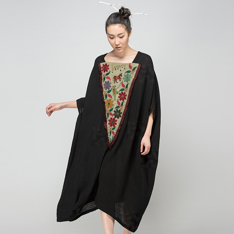 Jiqiuguer Embroidery one-piece dress vintage maxi half sleeve dress womens loose medium-long patchworkОдежда и ак�е��уары<br><br><br>Aliexpress