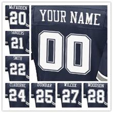 100% Stitched With Customized #20 Darren #21 Deion #22 Emmitt #24 Morris #25 Lance #27 J.J. #28 Darren Elite Navy Blue Jersey(China (Mainland))
