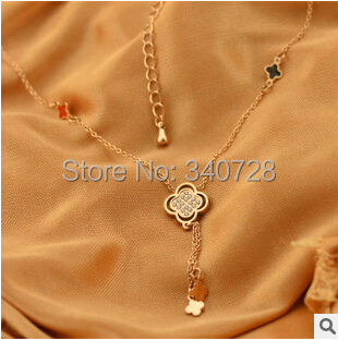 Luxury Designer 14k Gold Plated Colorful Four Leaf Clover With Crystal Pendant Flower Short Necklace Choker Collar For Women(China (Mainland))