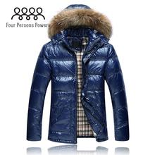 DC402 2015 New Winter men's down coat hooded thick fur collar down jacket bright surface casual outwear,M-3XL(China (Mainland))
