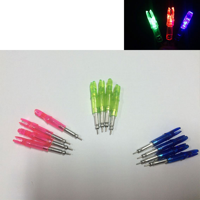 12PCS lot 3colors Lighted Arrow Nocks for Compound Bow ID 6 2mm Archery Arrows Lighted LED