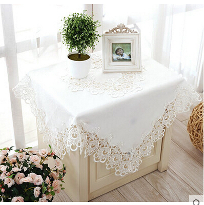 special European pure white embroidered lace tablecloth hollow tablecloth lace table cloth(China (Mainland))