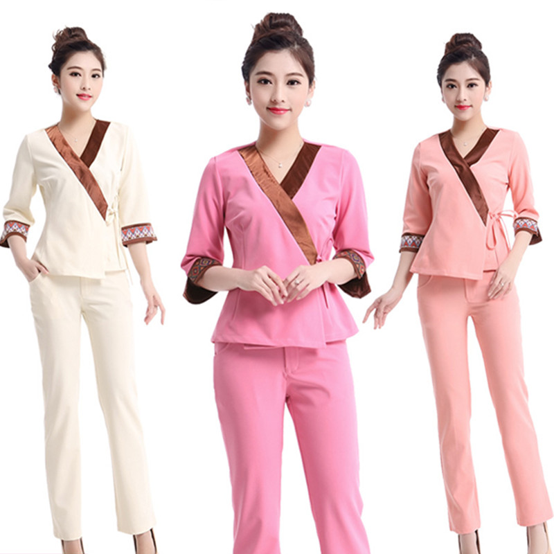 Free Shipping Brand New 2015 Summer Style Pink Graceful Women Scrub Set Nursing Uniform XXL SIZE(China (Mainland))