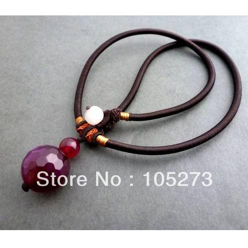 Charming Natural Purple Faceted Agate Woven Tibetan Necklace Pendant Jewelry 6-18mm 18 Handmade New Free Shipping<br><br>Aliexpress