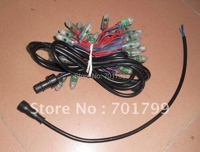 12mm RGB full LED pixel module (TLS3001 IC);DC5V input,50pcs a string;input end with a 2m long 4core waterproof cable