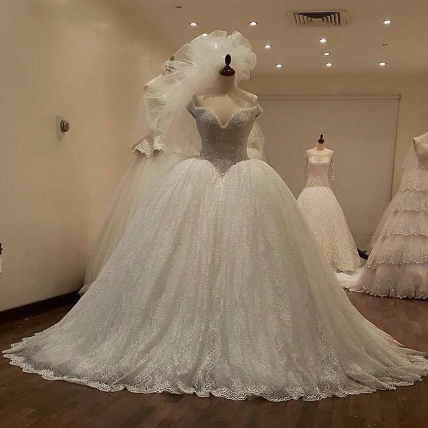 Buy high quality beaded crystal lace for Backless wedding dresses for sale