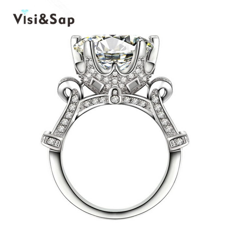 White gold plated rings 8ct clear CZ diamond Rings For Men women Wedding engagement vintage bague Bijoux fashion jewelry VSR289(China (Mainland))